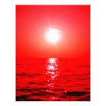 Paisaje marino rojo de la puesta del sol membretes personalizados