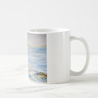 Paisaje marino taza básica blanca