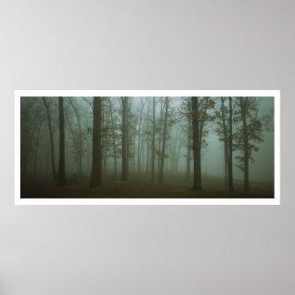 Paisaje melancólico panorámico del bosque poster