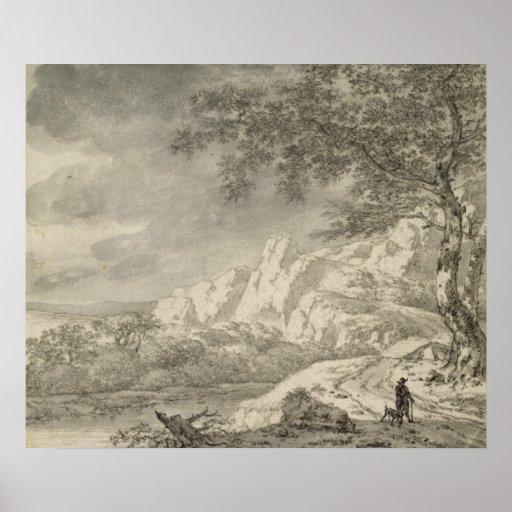 Paisaje montañoso con un caminante póster