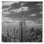 Paisaje negro y blanco del horizonte de New York C Teja Ceramica