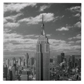 Paisaje negro y blanco del horizonte de New York C Azulejo Cuadrado Grande
