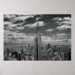 Paisaje negro y blanco del horizonte de New York C Posters