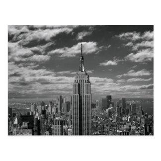 Paisaje negro y blanco del horizonte de New York Tarjetas Postales