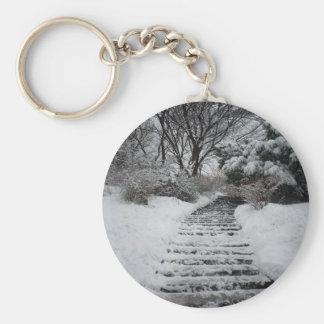 Paisaje nevado del Central Park NYC Llavero Redondo Tipo Pin
