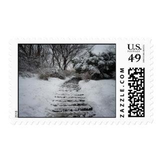 Paisaje nevado del Central Park NYC Sellos