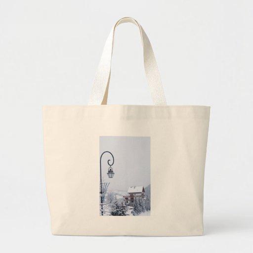 paisaje nevoso bolsa tela grande