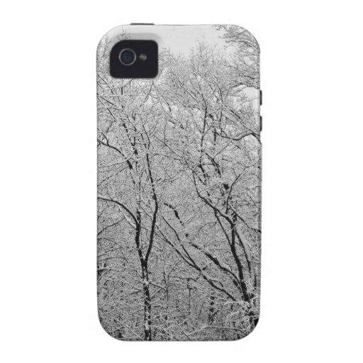 paisaje nevoso elegante iPhone 4 fundas