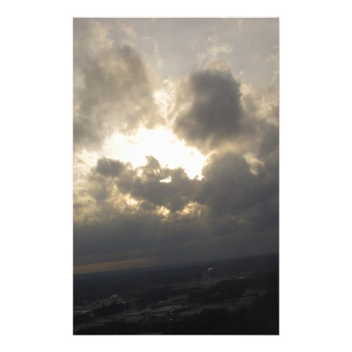 Paisaje nublado del lado positivo de la luz del so papeleria personalizada