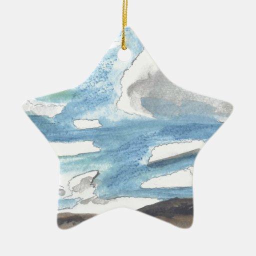 Paisaje nublado ornamentos de navidad