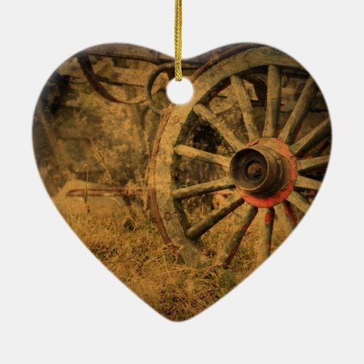 Paisaje occidental de la rueda de carro del vintag ornamentos de navidad