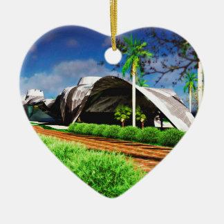 Paisaje orgánico de la arquitectura adorno navideño de cerámica en forma de corazón