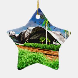 Paisaje orgánico de la arquitectura adorno navideño de cerámica en forma de estrella