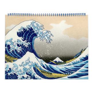 Paisaje oriental 2014 de la opinión de Hokusai Fuj Calendario De Pared