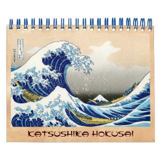 Paisaje oriental fresco de la opinión de Hokusai Calendarios