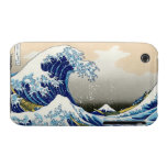 Paisaje oriental fresco de la opinión de Hokusai F Case-Mate iPhone 3 Cárcasa