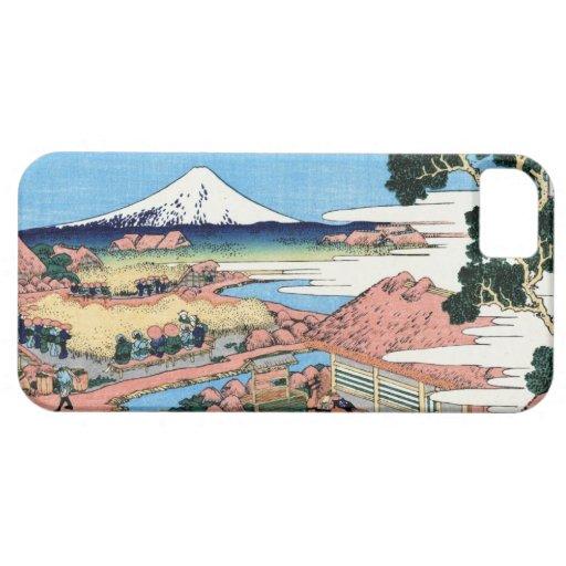 Paisaje oriental fresco de la opinión de Hokusai F iPhone 5 Cárcasas