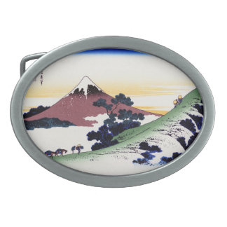 Paisaje oriental fresco de la opinión de Hokusai F Hebillas Cinturon Ovales