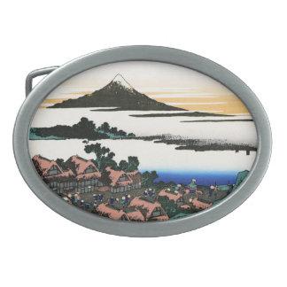 Paisaje oriental fresco de la opinión de Hokusai F Hebilla De Cinturón
