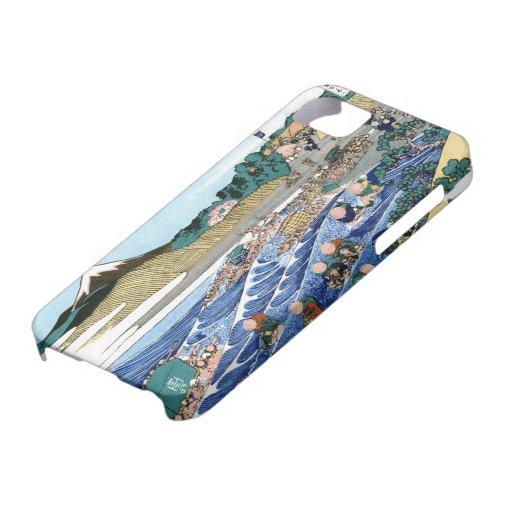 Paisaje oriental fresco de la opinión de Hokusai iPhone 5 Funda