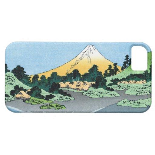 Paisaje oriental fresco de la opinión de Hokusai Funda Para iPhone 5 Barely There