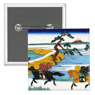 Paisaje oriental fresco de la opinión de Hokusai Pin Cuadrado