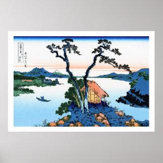 Paisaje oriental fresco de la opinión de Hokusai Póster