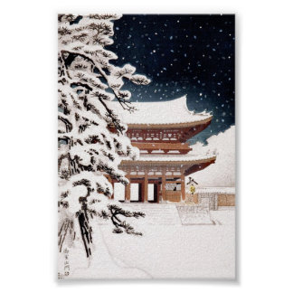 Paisaje oriental fresco del invierno de Hasui Kawa Poster