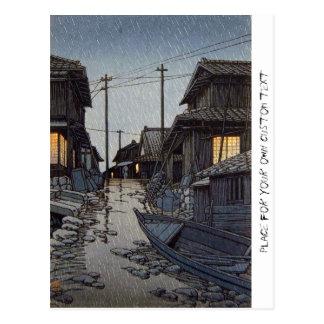 Paisaje oriental fresco del pueblo de Kawase del Tarjetas Postales