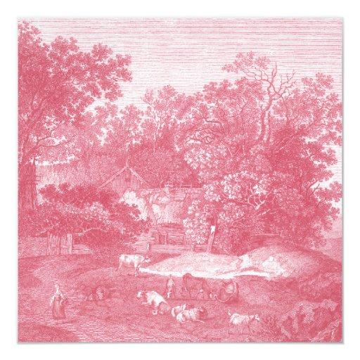 Paisaje pastoral rosado de Toile de Jouy Shabby Invitación 13,3 Cm X 13,3cm