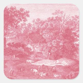 Paisaje pastoral rosado de Toile de Jouy Shabby Pegatina Cuadrada
