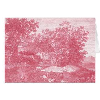 Paisaje pastoral rosado de Toile de Jouy Shabby Tarjeta De Felicitación