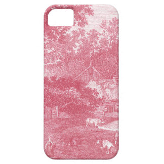 Paisaje Pink Toile de Jouy Shabby Counry del Funda Para iPhone 5 Barely There