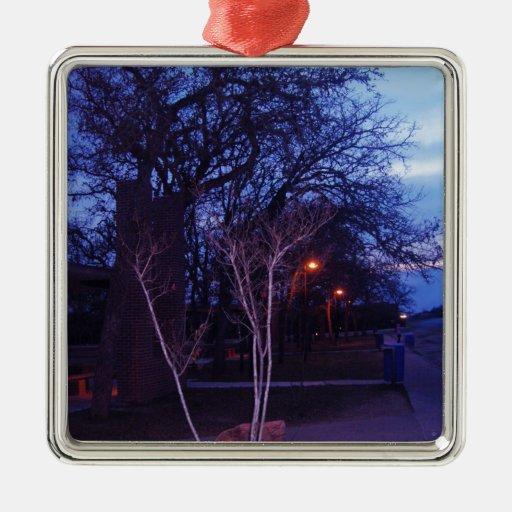 paisaje.png adorno navideño cuadrado de metal