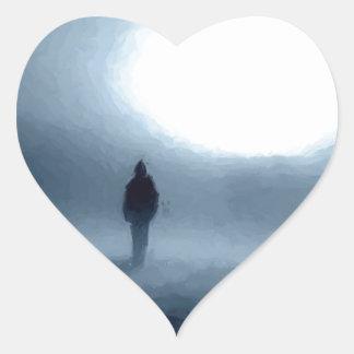 paisaje, retrato, persona, noche, luna calcomania corazon