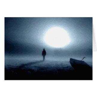 paisaje, retrato, persona, noche, luna tarjeta de felicitación