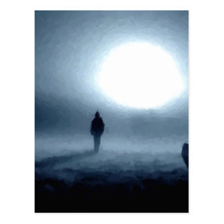 paisaje, retrato, persona, noche, luna tarjetas postales