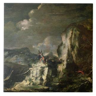 Paisaje rocoso con un Huntsman y los guerreros (ac Azulejo Cuadrado Grande