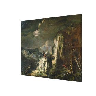 Paisaje rocoso con un Huntsman y los guerreros (ac Impresiones De Lienzo