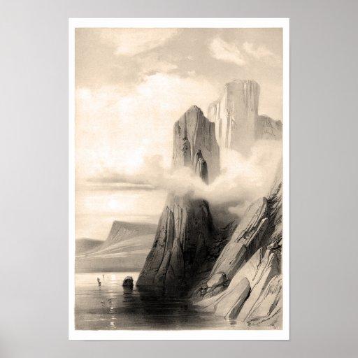 Paisaje rocoso por el mar póster