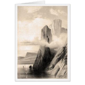 Paisaje rocoso por el mar tarjeta de felicitación