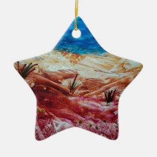 Paisaje rojo y marrón adorno navideño de cerámica en forma de estrella