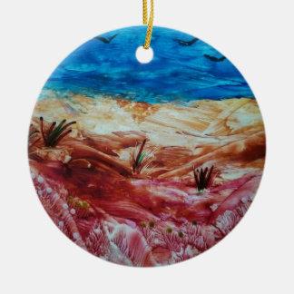 Paisaje rojo y marrón adorno navideño redondo de cerámica