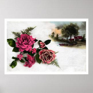Paisaje romántico de los rosas del photomontage de póster