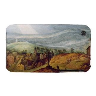 Paisaje rural con un peregrino que se arrodilla an iPhone 3 protectores