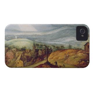 Paisaje rural con un peregrino que se arrodilla an Case-Mate iPhone 4 protectores