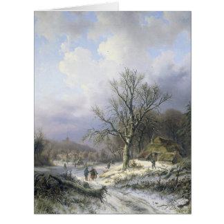 Paisaje rural Daiwaille 1845 Nevado Tarjeta De Felicitación Grande