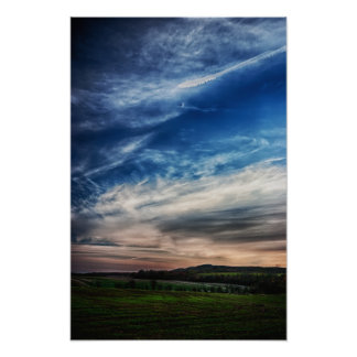 Paisaje rural de la puesta del sol posters
