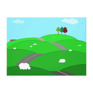 Paisaje rural impresión en lienzo estirada