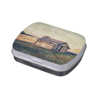 paisaje rústico de la cabaña del país de la granja frascos de caramelos